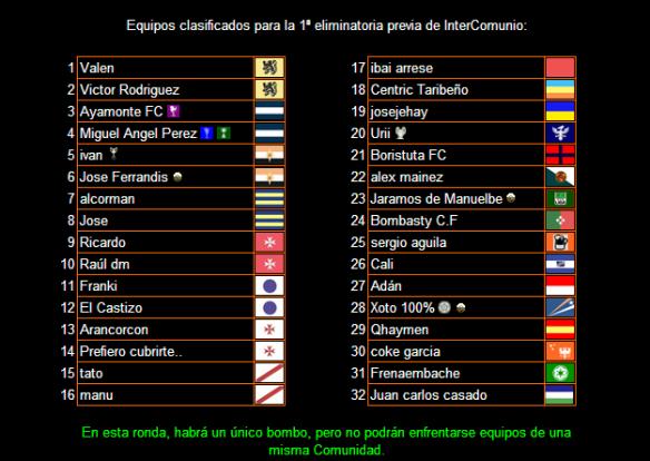 Equipos clasificados para la primera ronda Intercomunio 14-15