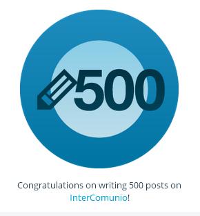 Felicitación por los 500 post en Intercomunio