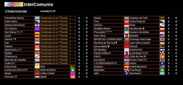 Partidos de 2ª ronda ida InterComunio 15-16